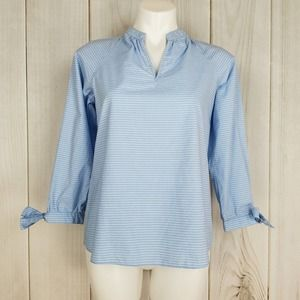 Madewell Blue White Striped Pop-over Cotton Blouse